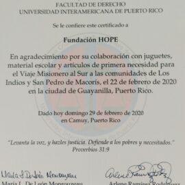 Certificado Agradecimiento  Otorgado por: Facultad de Derecho Universidad Interamericana De Puerto Rico